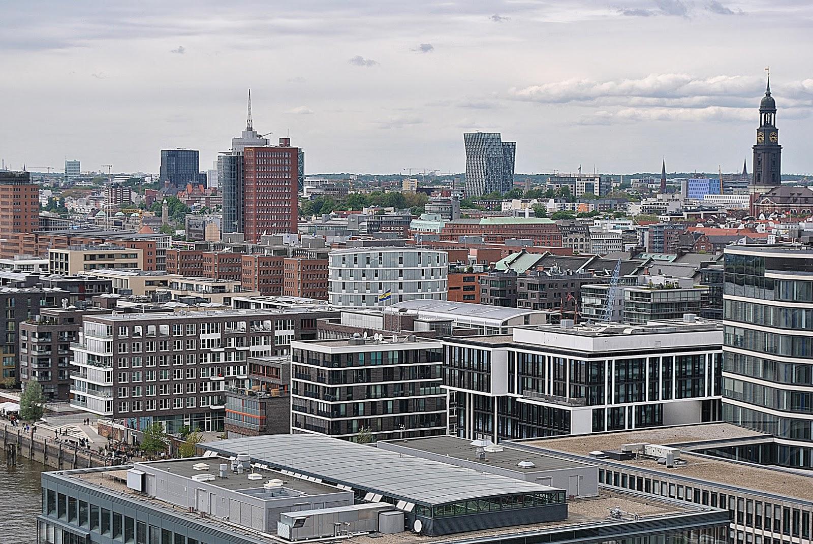 Hamburg, HafenCity, widok na miasto