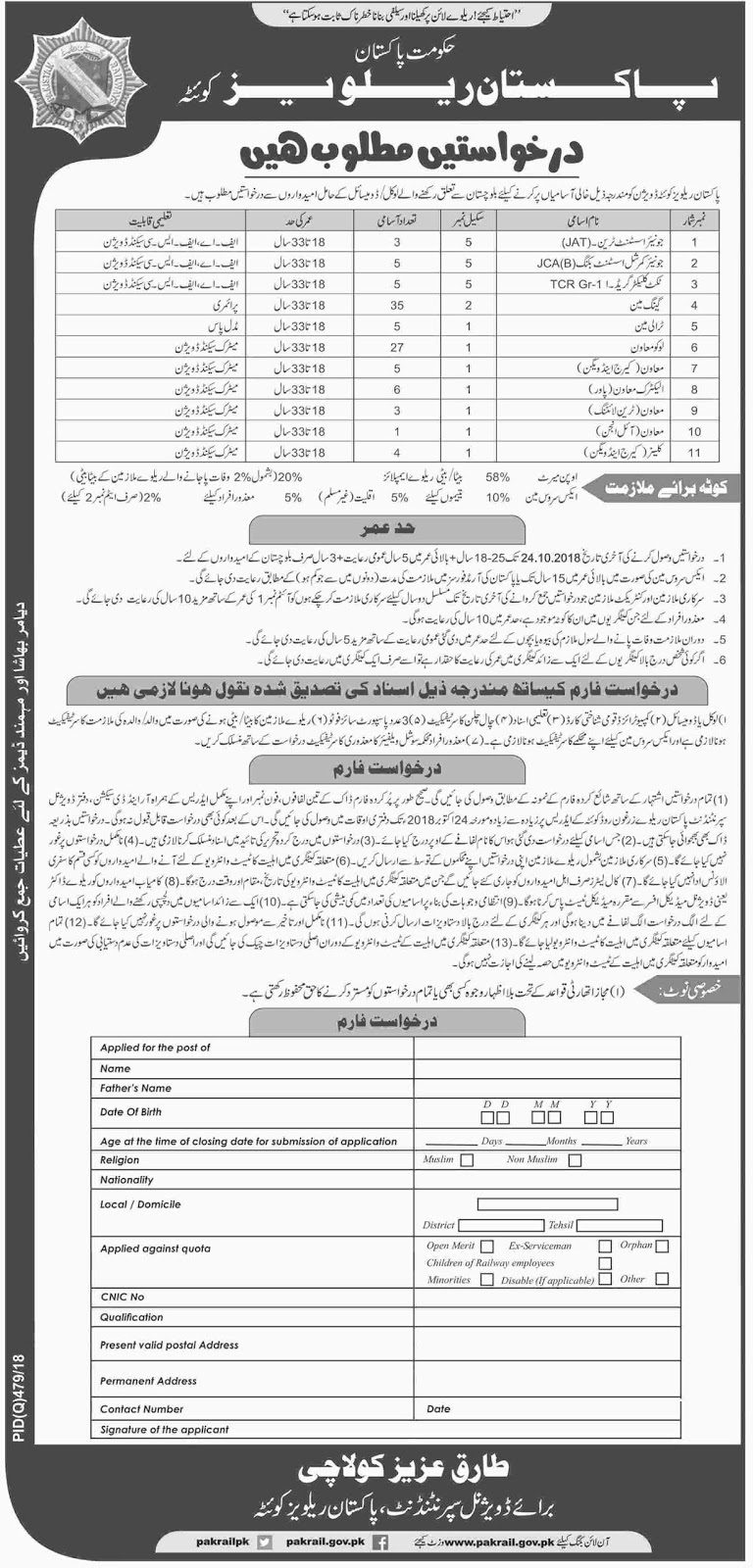 Latest Vacancies Announced in Pakistan Railways Quetta Division 4 October 2018 - Naya Pakistan
