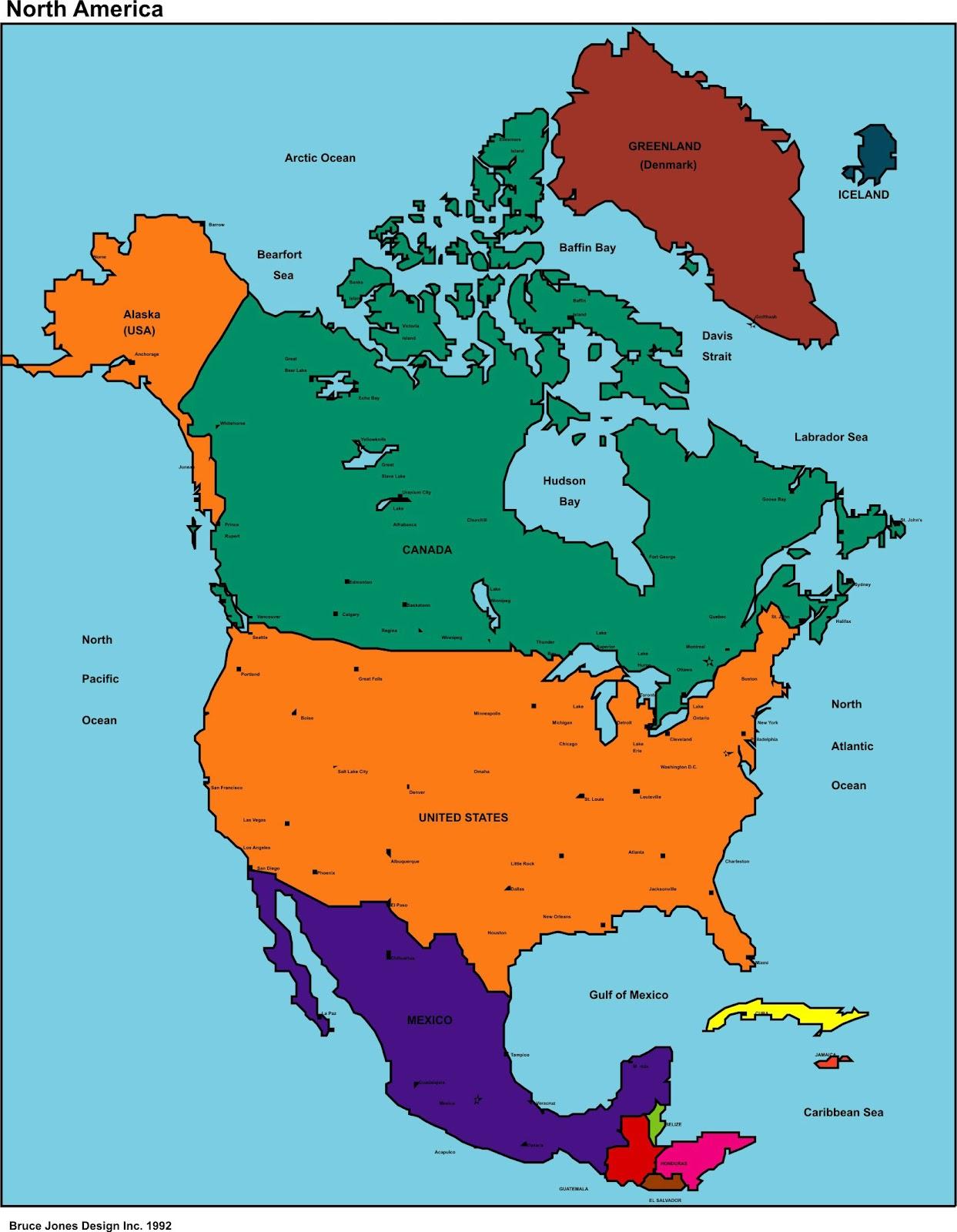 North America Map Region City