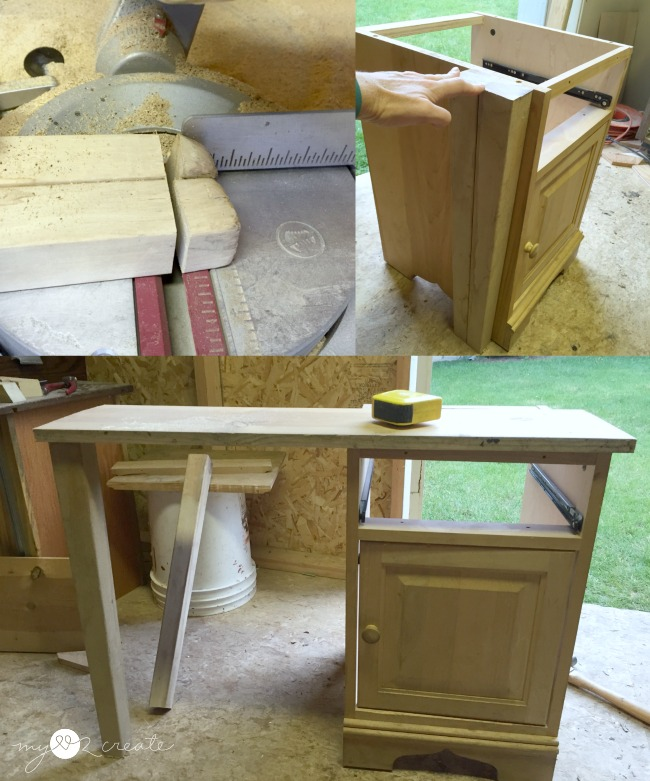 cutting legs to night stand height to add extension