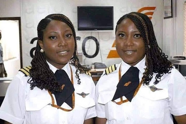 Picture of Nigeria's first twin female pilots