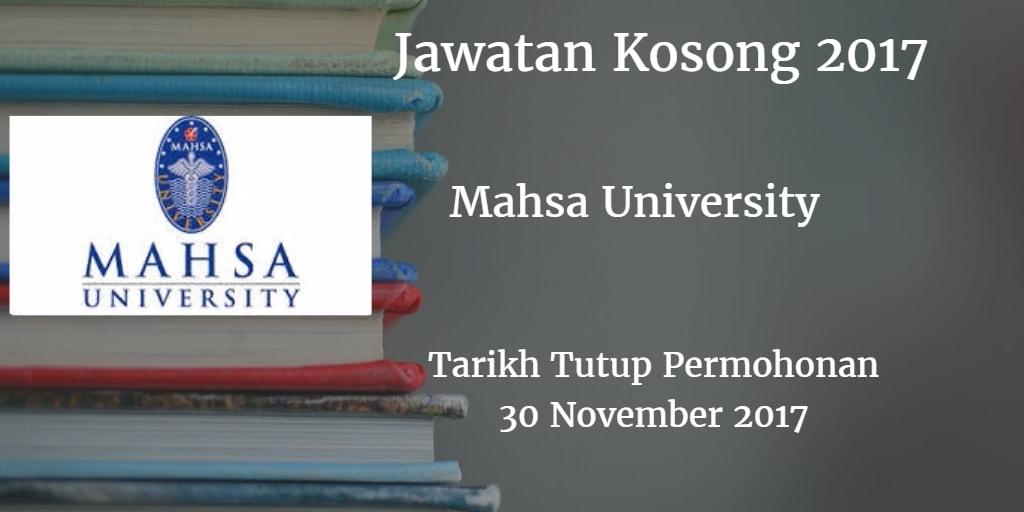 Jawatan Kosong Mahsa University 30 November 2017
