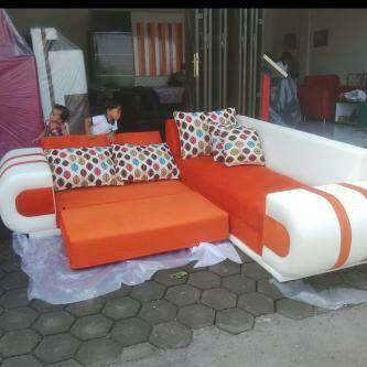 Sofa L Bed Orange Ang Semarang Omah Jepara Melayani