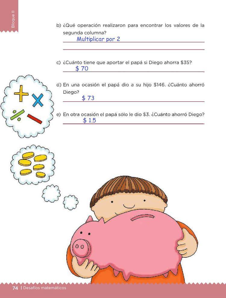El ahorroDesafíos MatemáticosQuinto gradoContestado pagina 74