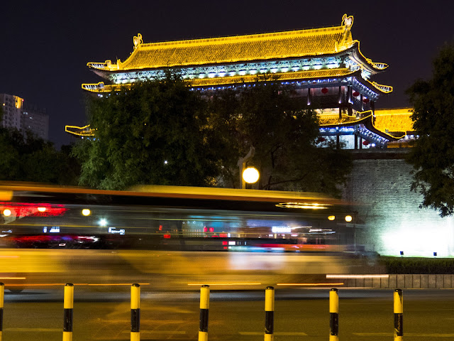 Gate to the city wall in Xi'an China after dark