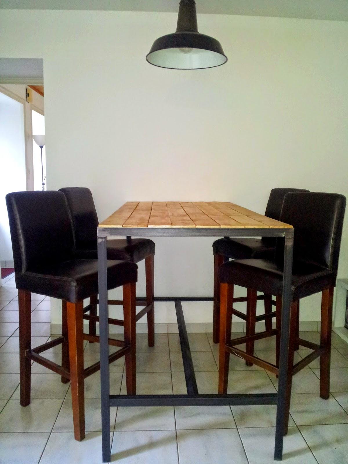 table haute industrielle. Black Bedroom Furniture Sets. Home Design Ideas