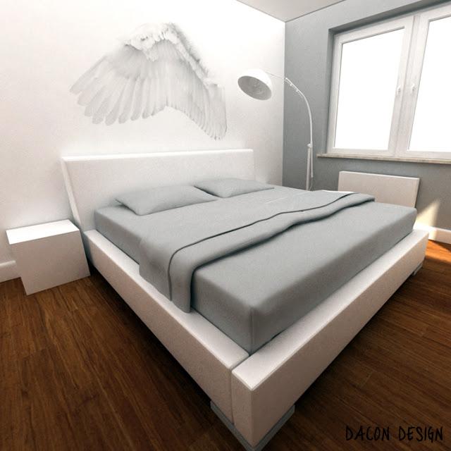 dacon design architekt skrzydła piora sypialnia wings design