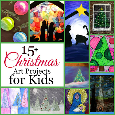 15+ Christmas Art Projects for Kids-This is a craft free list. You'll only find fine art type tutorials here.