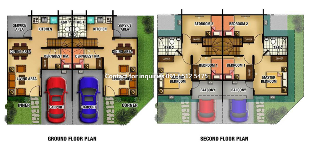 Floor Plan of Adelle With Fence - Lancaster New City Cavite | House and Lot for Sale General Trias Cavite