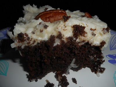 Slice of Gluten-Free Chocolate Cake with Coconut Frosting