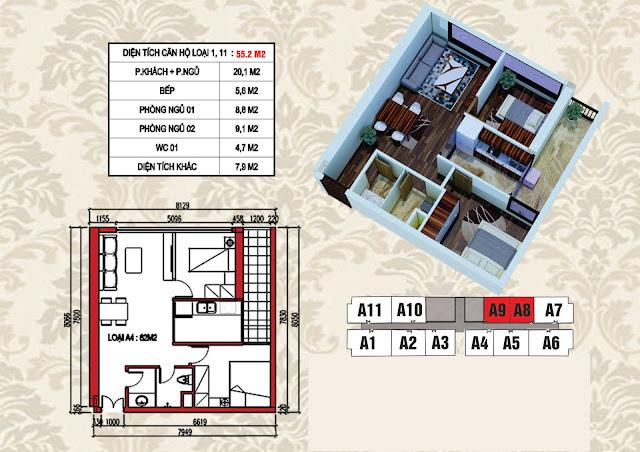 Mặt bằng điển hình căn hộ 55,2m2