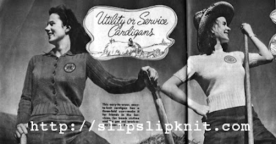 The Vintage Pattern Files: Free 1940's Knitting Patterns - Utility or Service Cardigan & Pullover