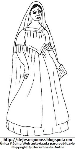Dibujo de María Parado de Bellido para colorear o pintar. Ilustración de María Parado de Bellido de Jesus Gómez