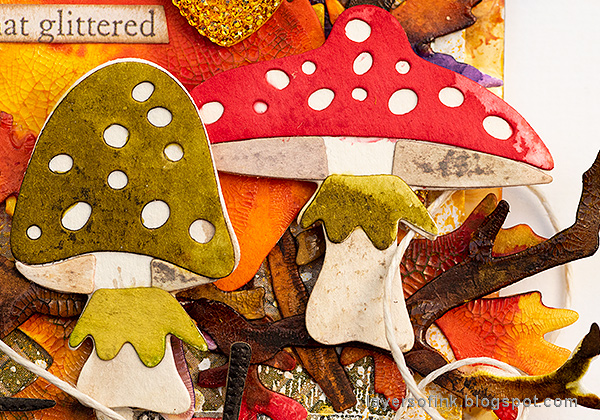 Layers of ink - Embossed Acetate Autumn Tag Tutorial by Anna-Karin Evaldsson, die cut mushrooms with Funky Foliage