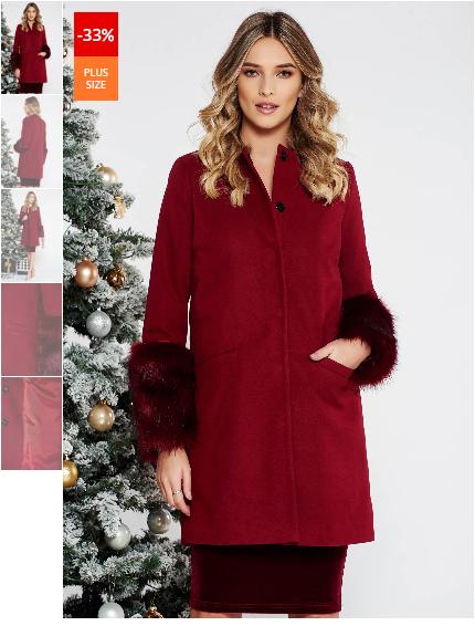 Palton dama visiniu elegant cu un croi drept din lana cu insertii cu blana