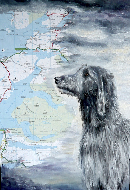oil painting, Scottish deerhound, Scotland, painting