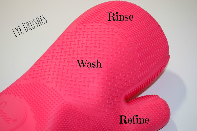 Image sharing the different sections on the Sigma brush cleansing glove