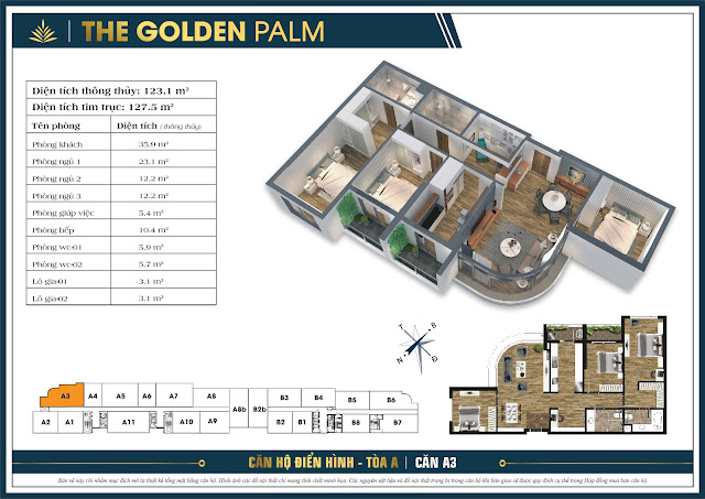 Căn A3 - 123m - The Golden Palm