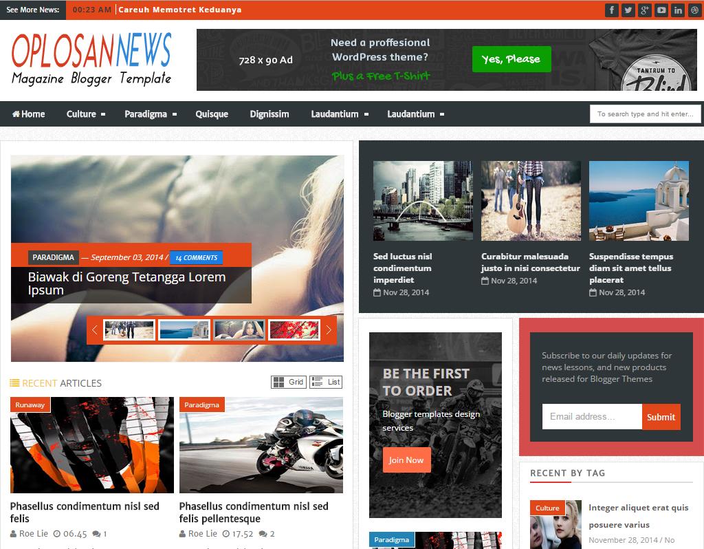 Oplosan News Blogger Template Blogger Templates Gallery