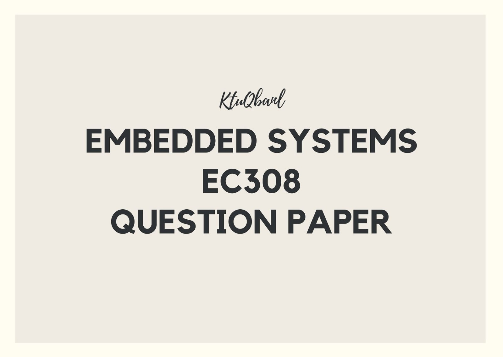 Embedded Systems | EC308 | Question Papers (2015 batch)