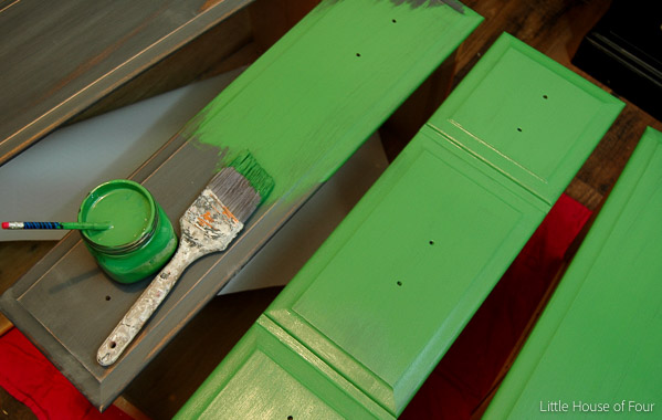 Adding emerald green paint to dresser