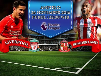 Agen Resmi SBOBET Online Terbaik - Prediksi Liga Inggris Liverpool vs Sunderland 26 November 2016