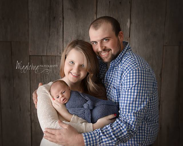 Newborn Baby Boy in the DeKalb IL photography studio of Wigglebug Photography