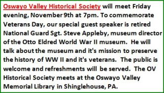 11-9 OV Historical Society Meeting
