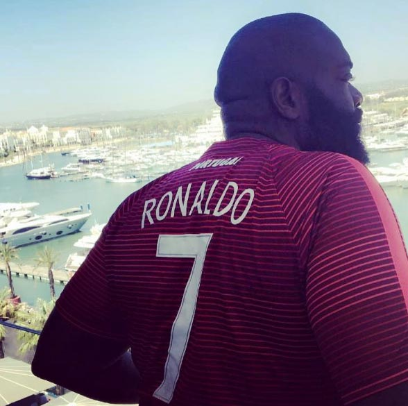 Rapper Rick Ross rocks Ronaldo jersey as he holidays in Portugal