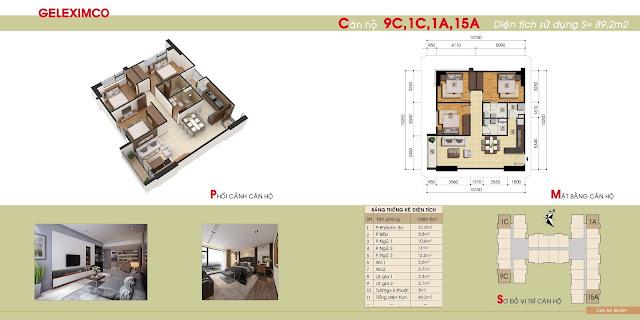 Thiết kế căn 3 ngủ 9C, 1C, 1A, 15A