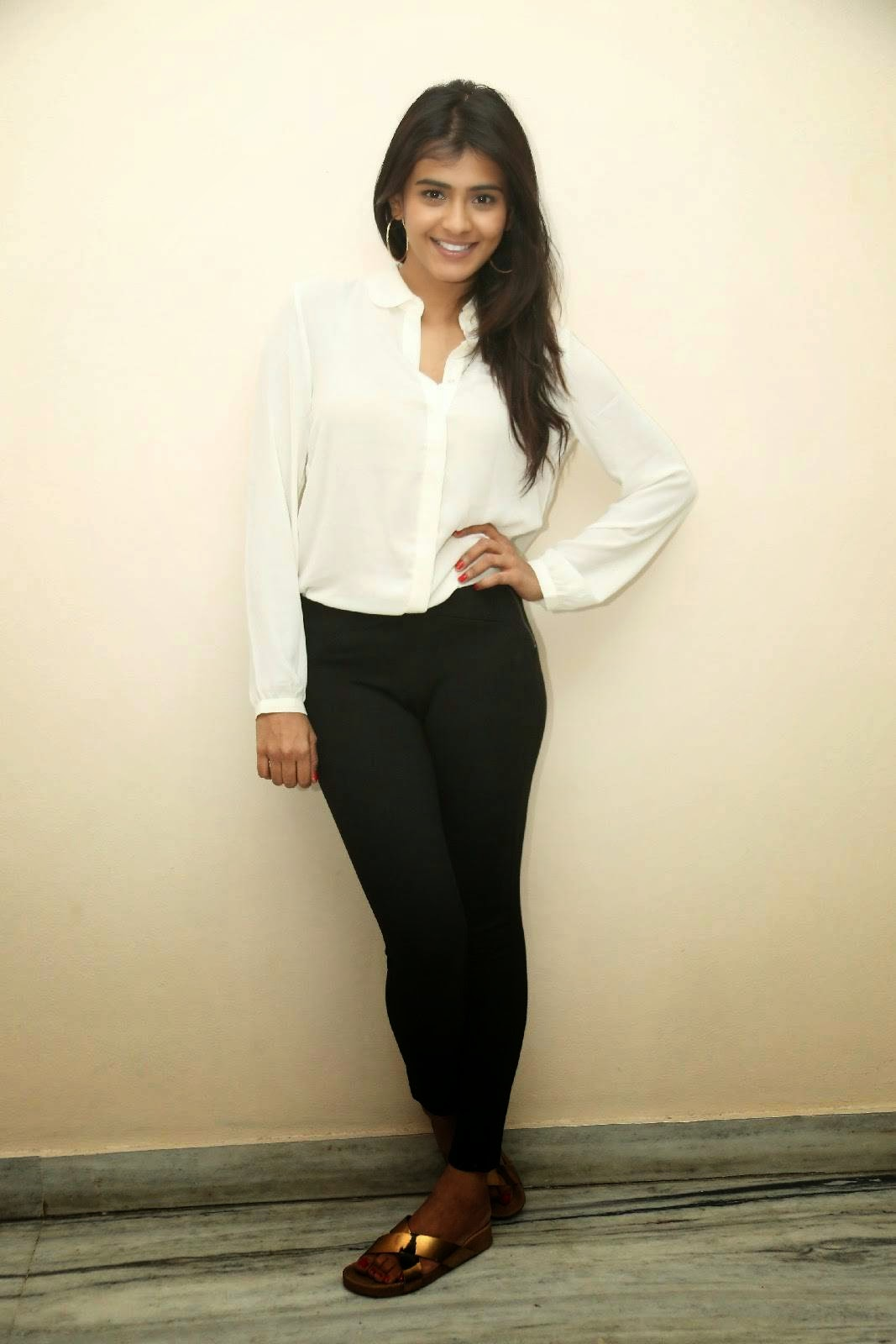 Actress Heeba Patel Stills In White Shirt Black Jeans