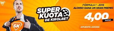 Kirolbet superkuota Fernando Alonso gana una carrera mundial F1 23 marzo
