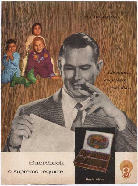 Propaganda dos anos 50 dos Charutos Suerdieck em homenagem ao Dia dos Pais