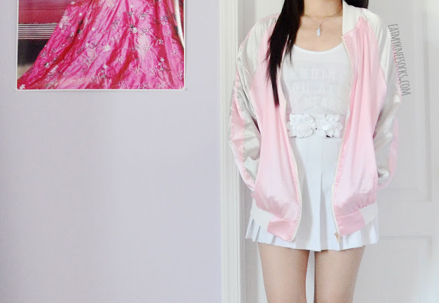 Details on the pastel pink and white silky satin daisy floral embroidered oversized bomber souvenir jacket from Romwe, a SS16 fashion trend.