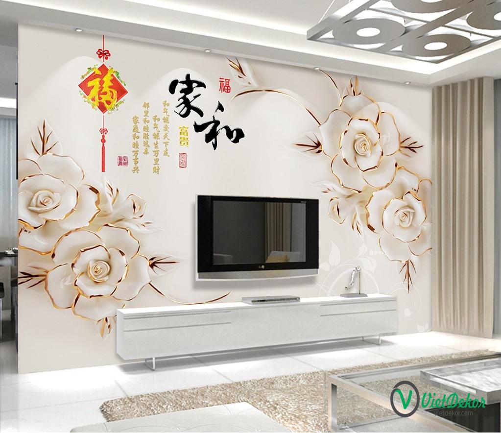 Tranh dán tường 3d hoa trang trí