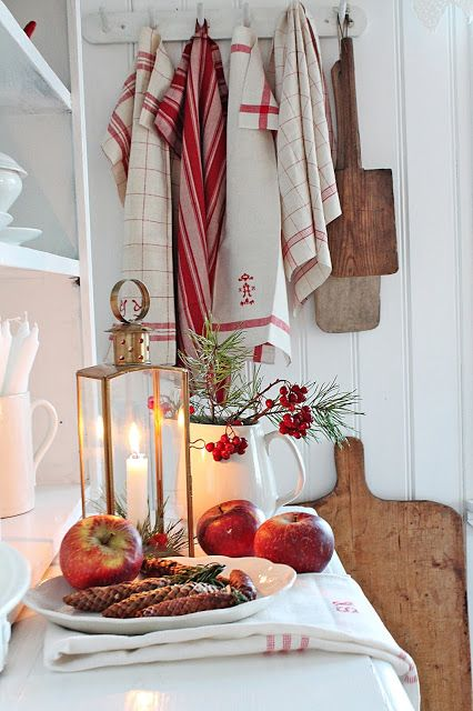 Swedish Farmhouse Christmas Decorating Interior Design red and white kitchen