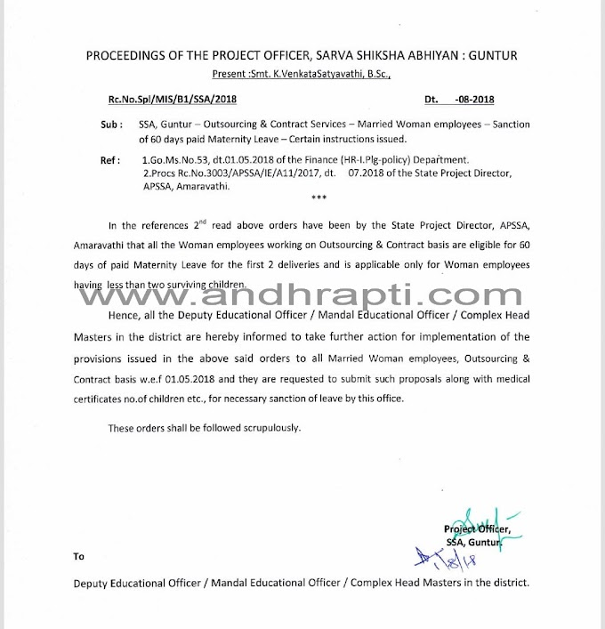 Guntur District - 60 days paid Maternity Leave to the Outsourcing & Contract Woman employees - Proceedings from Project Officer
