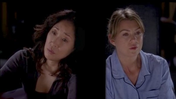 Grey's Anatomy – Yang leans against adjoining hotel door with Meredith