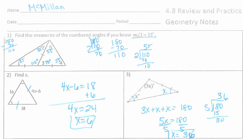 Mrs  McMillan's Geometry Class: HW 4 8: Finish Review Packet