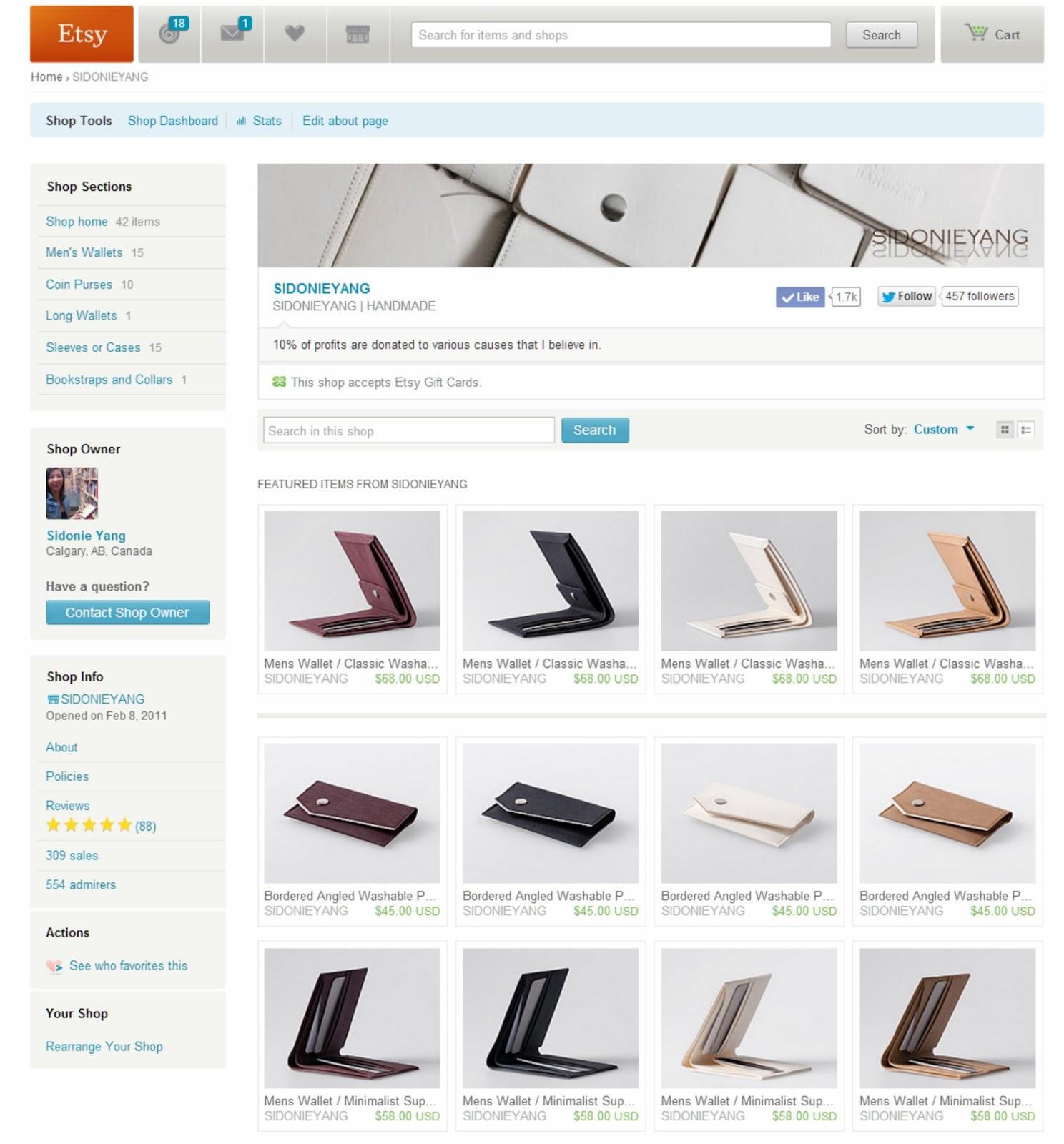 紙樣手創設計在Etsy 的網路商店截圖於 2014/06/13