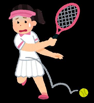 スランプのテニス選手のイラスト(女性)