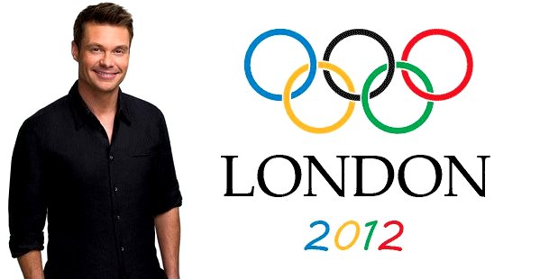 Ryan Seacrest and Olympic rings logo