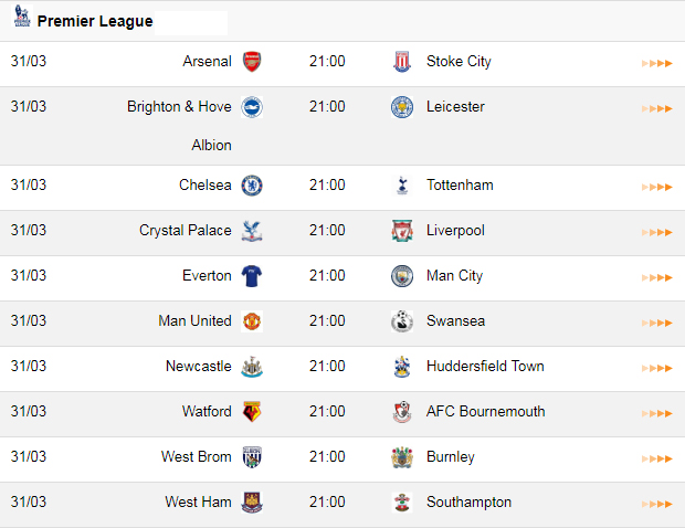 Schedule of Premier League matches (round 32)