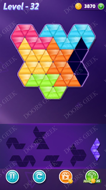 Block! Triangle Puzzle Intermediate Level 32 Solution, Cheats, Walkthrough for Android, iPhone, iPad and iPod