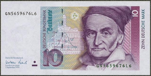 10 Deutsche Mark German banknote Gauss