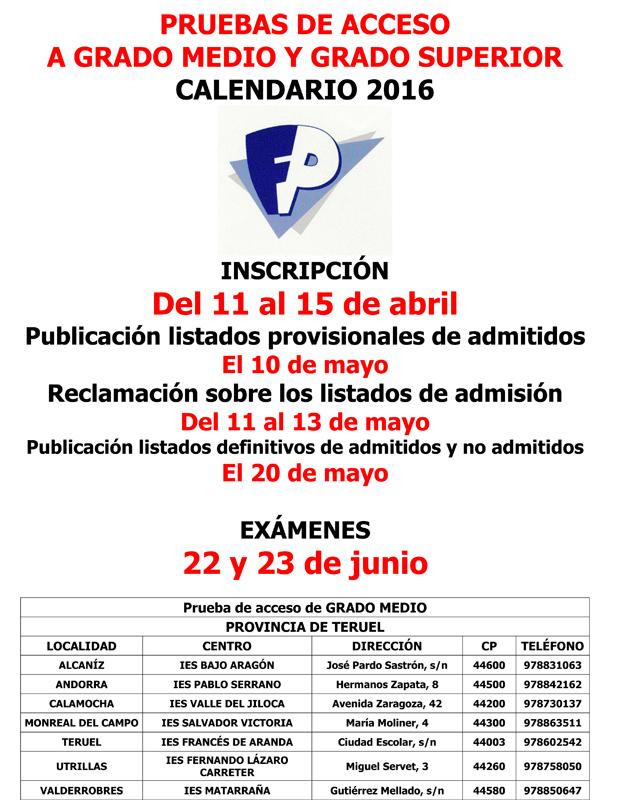 Epa Teruel Pruebas De Acceso A Ciclos Formativos De Grado