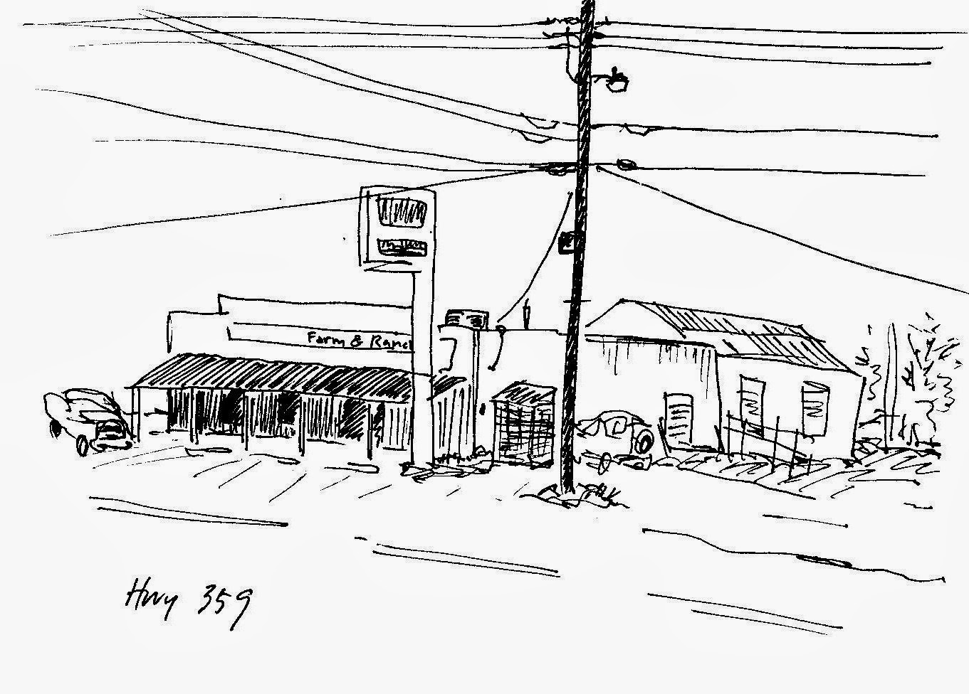 sketch by David Borden of a small country store