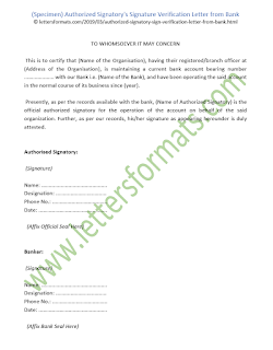 Authorized Signatory's Signature Verification Letter from Bank (Sample)