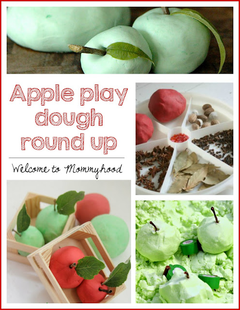 Apple play dough activities from Welcome to Mommyhood #appleplaydough, #fallthemedactivities, #fallthemedactivities, #applethemedactivities
