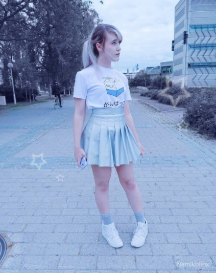 Instagram namikolinx pastel colors kawaii milk shirt outfit pleated skirt